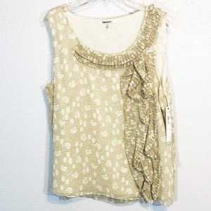 NWT DKNYC tank top ruffle natural size L